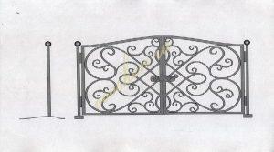 Кованые ворота эскиз 011