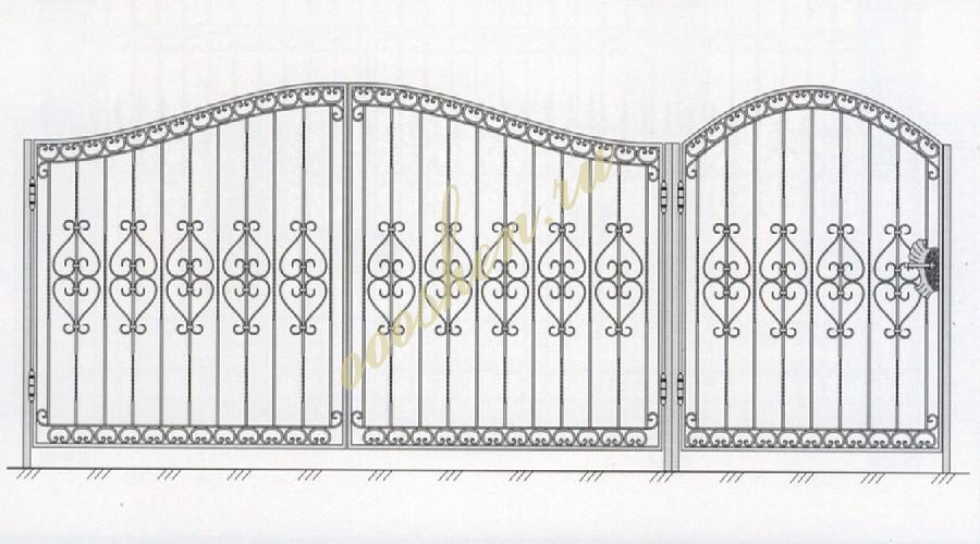 Кованые ворота эскиз 023