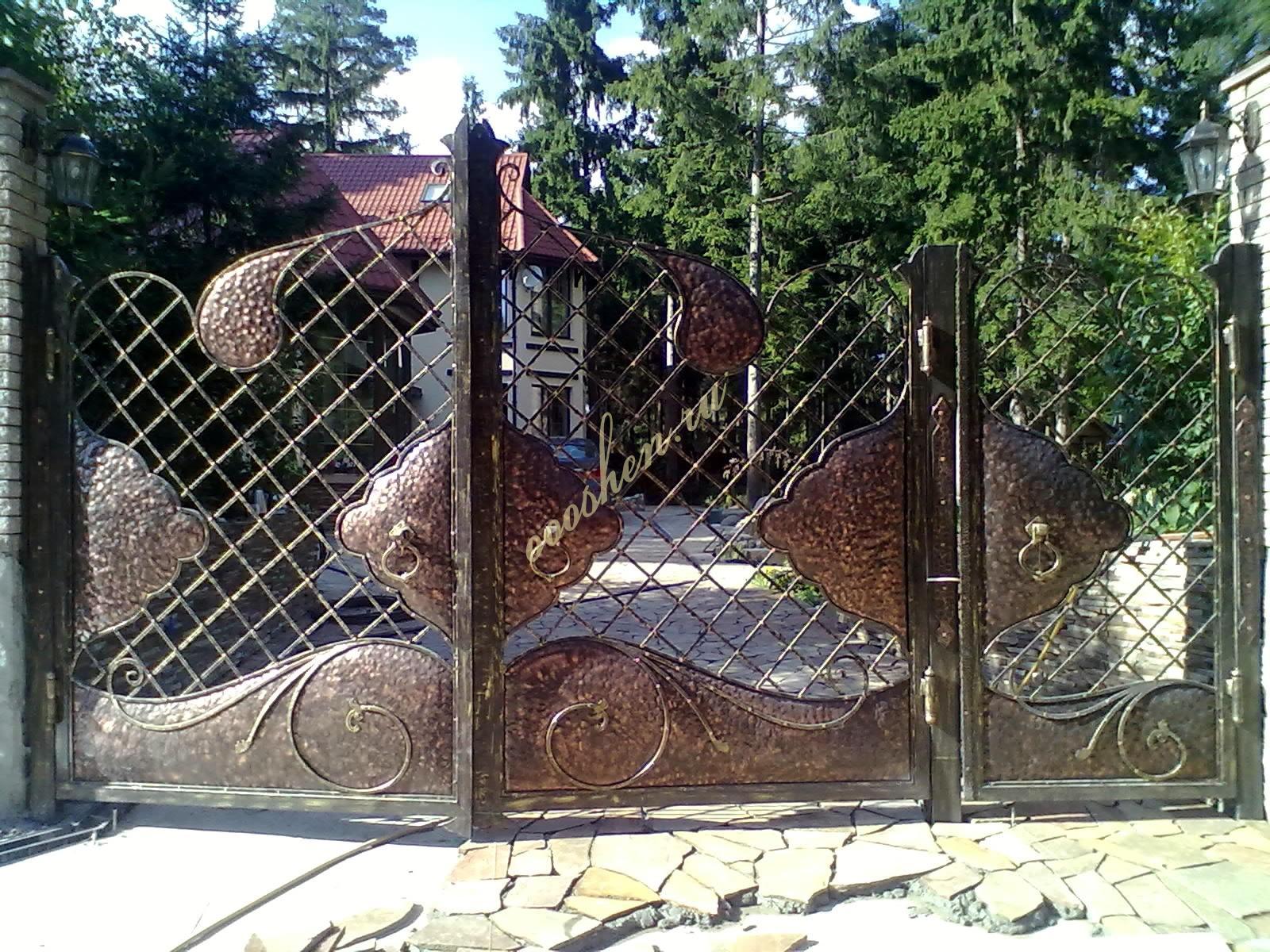 кованые ворота в Подольске с калиткой 004
