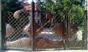 Кованые ворота с калиткой 004