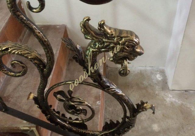 кованые перила в раменском с головой дракона